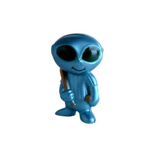 Miniature alien baseball player