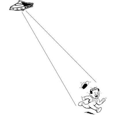 Farmer running from UFO
